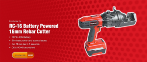 RC-16 Battery Powered 16 mm rebar cutter with contact us logo